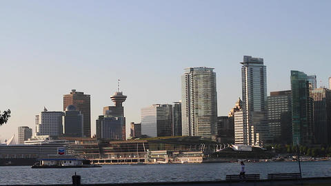 vancouver skyline - people exercising hd Stock Video Footage
