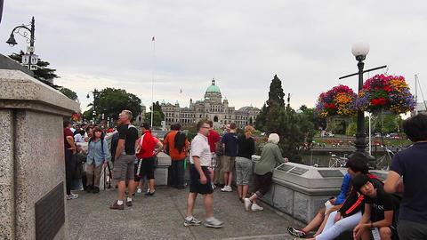People James bay look at Victoria Canada Parliamen Footage