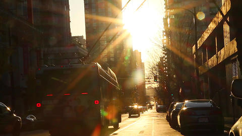 golden hour sunset at downtown Vancouver street Stock Video Footage