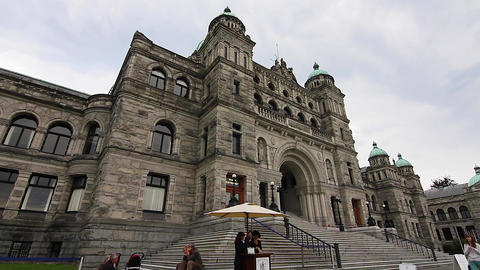 in front of Victoria Canada Parliament Building Stock Video Footage