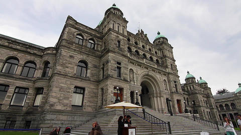 In Front Of Victoria Canada Parliament Building stock footage