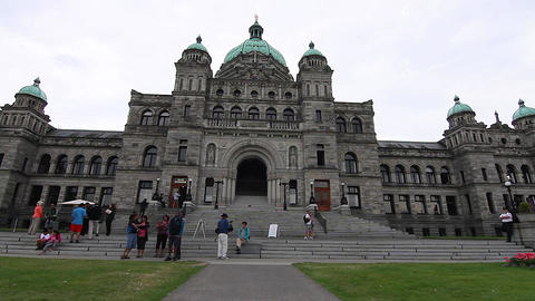 Dolly Shot - In Front Victoria Canada Parliament B stock footage