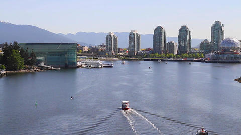 close angle aerial - false creek science world Footage