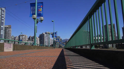 very low angle - dolly shot cambie bridge Stock Video Footage