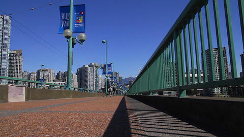 very low angle - dolly shot cambie bridge Footage