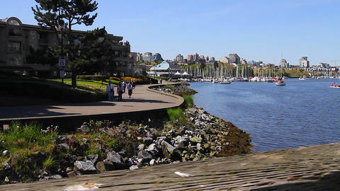 dolly shot - people walking false creek seawall Footage