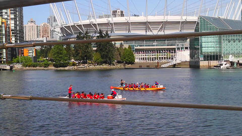 creative dolly shot - dragon boaters beside bc pla Footage