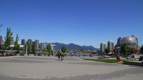 People - View Of Bc Place Mountains stock footage