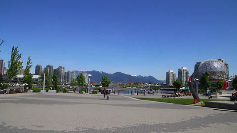 people - view of bc place mountains Stock Video Footage