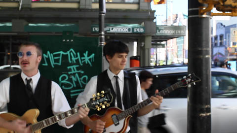 live band playing at robson Stock Video Footage