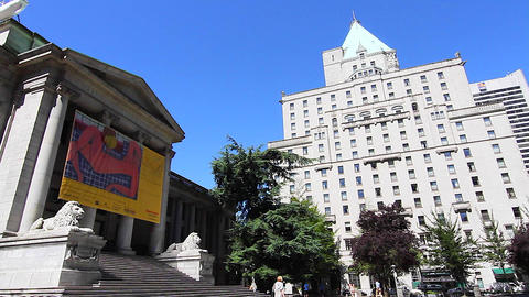 sunny day - downtown Vancouver art gallery Footage