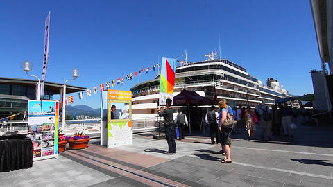 Canada place - huge cruise ship people photographi Stock Video Footage