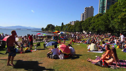 english bay crowd preparing for fireworks show Footage