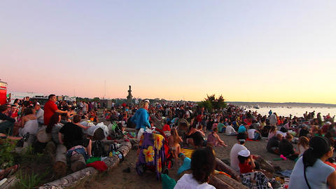 sunset english bay crowd waiting for fireworks sho Live Action