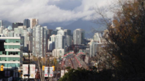 artistic zoom out Vancouver skyline from city hall Stock Video Footage