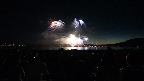 51 seconds - wide view english bay fireworks Stock Video Footage