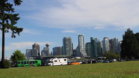medium dolly shot - Vancouver skyline from Stanley Footage