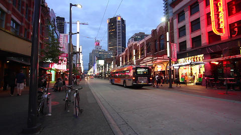 evening - Granville steet entertainment district Stock Video Footage