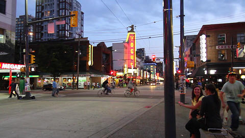 dolly shot - evening Granville street district Footage