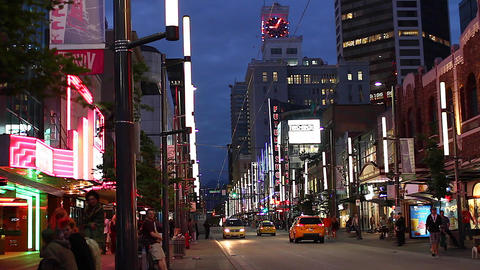 evening - Granville steet entertainment district 2 Stock Video Footage