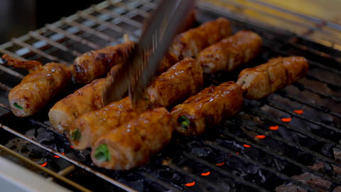pork grass rolls Stock Video Footage