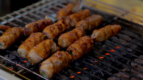 Pork Grass Rolls stock footage