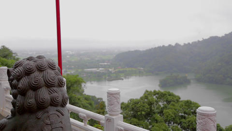 plum blossom lake from sanqing temple Footage
