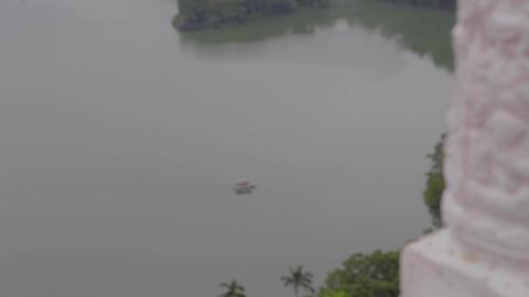 aerial - boat on plum blossom lake Footage