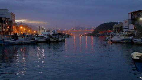 evening at suao fishing port Stock Video Footage