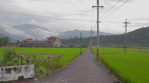 beautiful yilan houses with mountain and grass Footage
