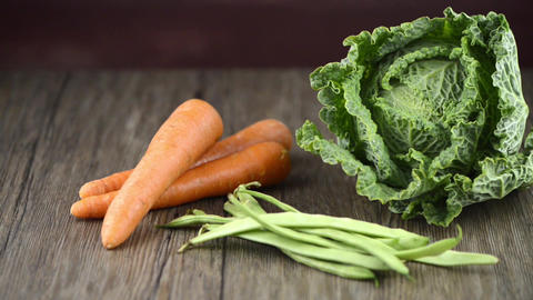 Carrots and green beans Stock Video Footage