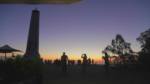 a beautiful sunset at the mount loft viewpoint wit Stock Video Footage