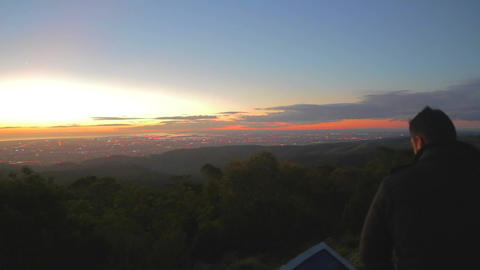 a right to left pan of a vibrant sunset from the m Stock Video Footage