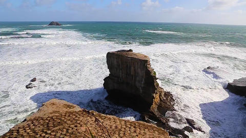 Two high rock ocean rock formatations home to the Stock Video Footage