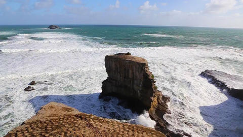 Two high rock ocean rock formatations home to the  Footage
