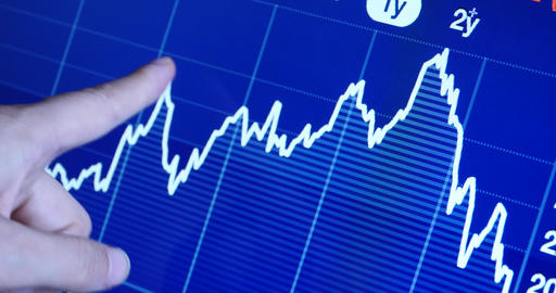 4k Finger pointing on financial trend diagram,finance... Stock Video Footage