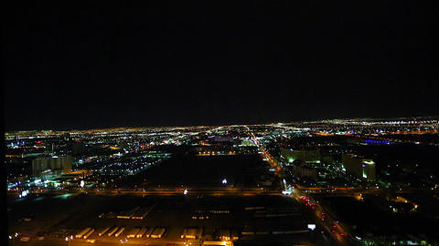 evening aerial view of las vegas from a penthouse Stock Video Footage