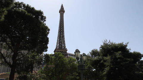 2 angles of paris hotel on beautiful day Stock Video Footage