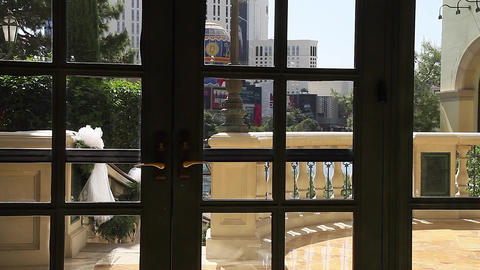 dolly shot of paris hotel from inside bellagio Stock Video Footage