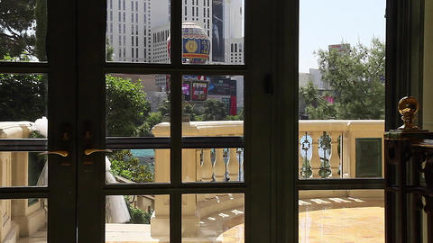 dolly shot of paris hotel from inside bellagio and Footage