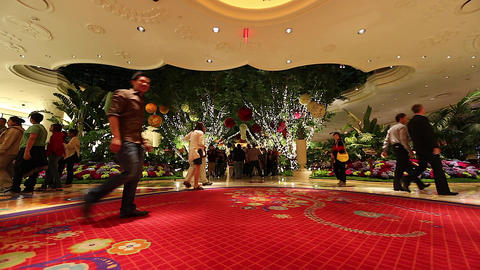 people walking inside the wynn hotel red carpet Footage