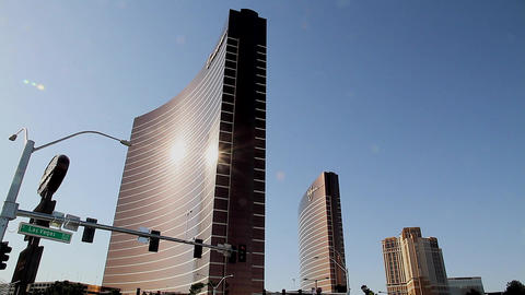 2 angles of the encore, wynn, and palazzo Stock Video Footage