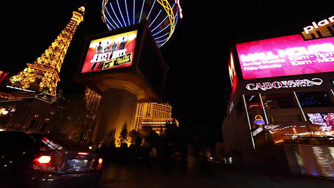 exciting night driving shot of vegas trip paris ho Footage