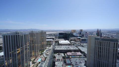 sunny penthouse view of mgm and surrounding towers Stock Video Footage