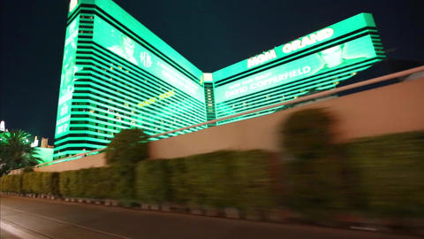 Driving Shot Of A Glowing Mgm Hotel stock footage