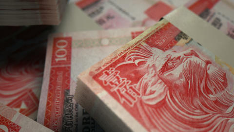 hong kong dollar o notes scattered pile pan across Animation