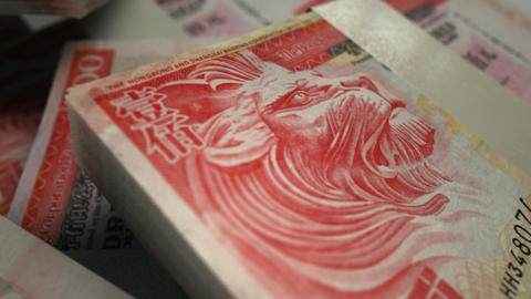 hong kong dollar o notes scattered pile pan across Stock Video Footage