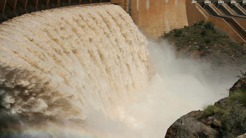 Dam wall with open sluice gates Footage