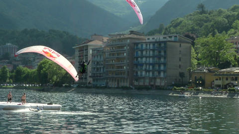 acrobatic paragliding synchro white red 31 (slow m Footage