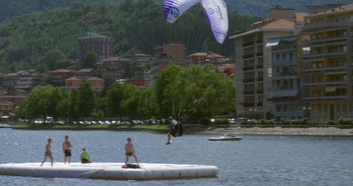 acrobatic paragliding landing 02 (4K) Footage